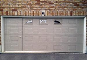 DGH Doors beige WalkThru Garage Door